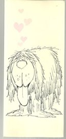 Vintage Valentine Card with Shaggy Love Sick Dog