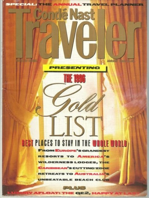 Conde Nast Traveler Magazine January 1996 Gold List