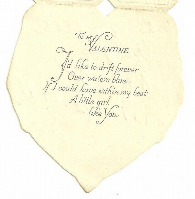 Vintage Valentine Card Little Girl and Boy in Rowboat