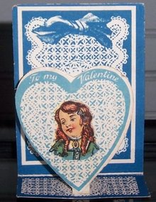 Victorian Fold Out Valentine with Girl in Blue Heart