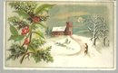 Victorian Trade Card With Man Walking to Snowy Church