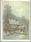 Victorian Trade Card With Snowy Mill and Full Moon