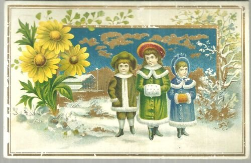 Victorian Trade Card With Two Girls and One Boy Dressed For Winter