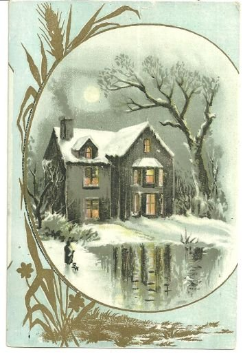 Victorian Trade Card With Snowy House and Golden Wheat