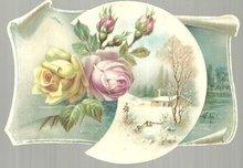 Victorian Card With Winter Scene and Roses in Moon
