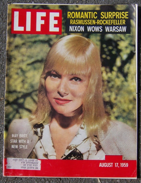 Life Magazine August 17, 1959  May Britt on the Cover