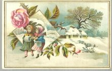 Victorian Card Two Girls Walking In Winter Landscape
