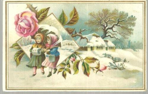Victorian Card Two Girls Walking In Winter Landscape