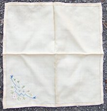 Vintage Brown Handkerchief with Embroidered Flowers