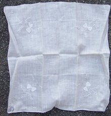 Vintage White Handkerchief with Embroidered Bows