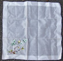 Vintage White Handkerchief with Embroidered Roses