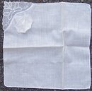 Vintage White Handkerchief with Appliqued White Flower