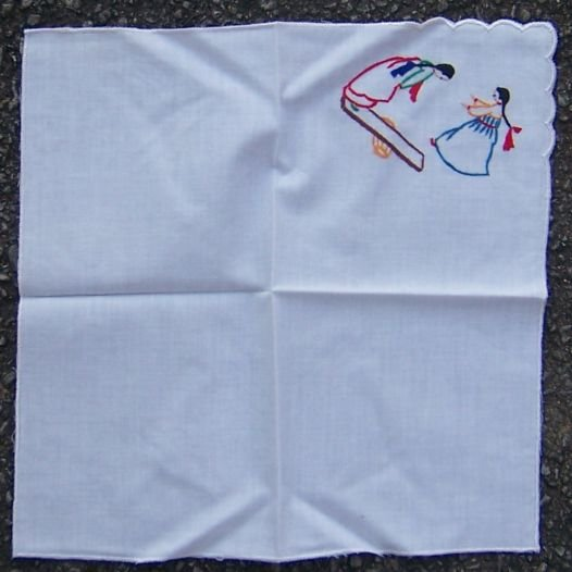 Vintage White Handkerchief with Embroidered Girls