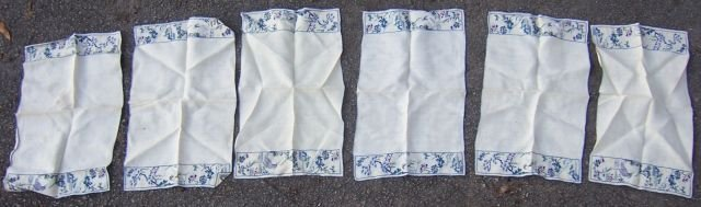 Set of Six Vintage White Embroidered Table Runners