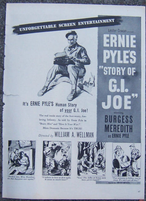 1945 Ernie Pyle's Story of G. I. Joe Movie Life Mag Advertisement