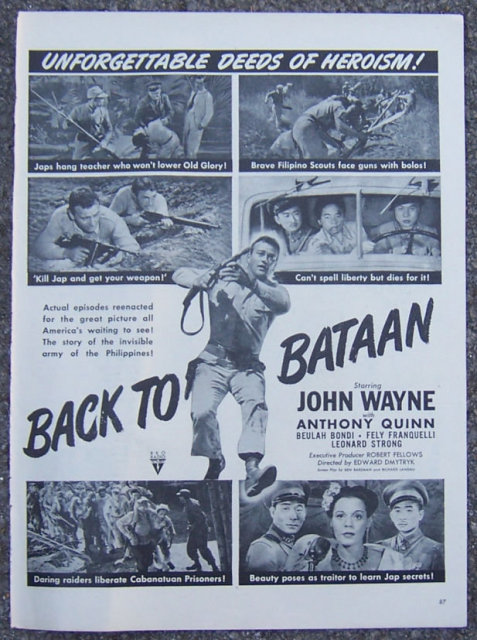 1945 Back to Bataan Movie Life Magazine Advertisement