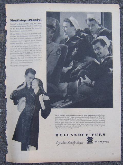 1945 Hollander Furs Life Magazine Advertisement