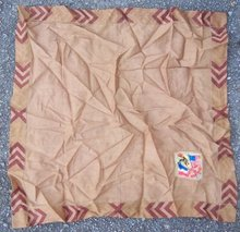 Vintage Brown Handkerchief American Red Cross Emblem