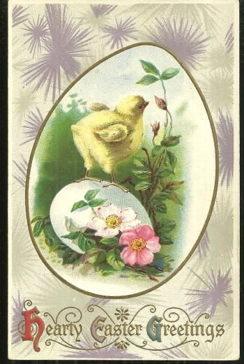 Hearty Easter Greetings with Chick and Egg Postcard