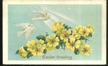 Easter Greeting Postcard with Doves and Floral Cross