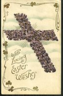 Loving Easter Wishes Postcard with Floral Cross