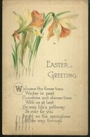 Easter Greeting Postcard with Daffodil Flowers 1916
