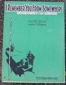 I Remember You From Somewhere 1930 Sheet Music