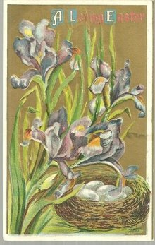 Loving Easter Wishes Postcard with Nest and Irises