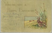 Happy Eastertide Undivided Postcard with Bunnies