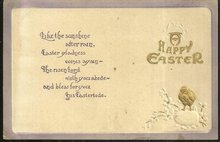Happy Easter Postcard with Gold Chick Easter Egg 1913