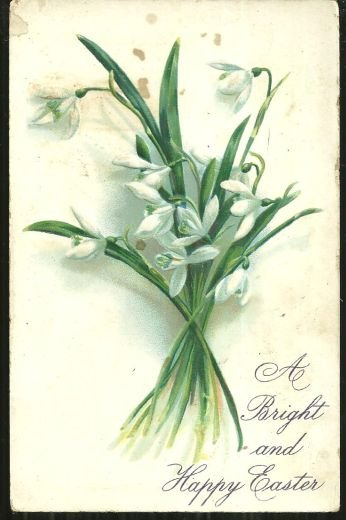 Bright and Happy Easter Tuck's Postcard with Snowdrops
