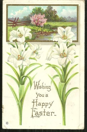 Vinrage Happy Easter Postcard with White Easter Lilies