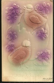 Easter Greeting Postcard with Chicks and Flowers 1909