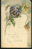 Vintage Happy Easter Postcard with Pansy Bouquet