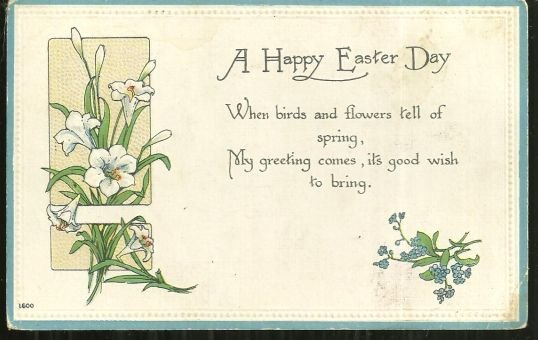 Vintage Happy Easter Day Postcard with Lilies 1917
