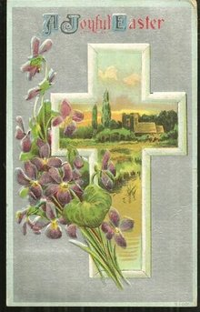 Joyful Easter Postcard with Cross and Violets 1910