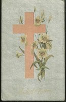 Joyful Easter Postcard with Pink Cross and Flowers 1911