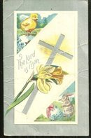 Easter Postcard with Cross, Chick and Easter Bunny