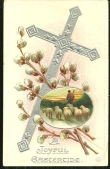 Joyful Eastertide Tuck's Postcard with Cross and Sheep