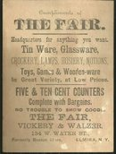 Victorian Trade Card for The Fair Reatil Store Elmira