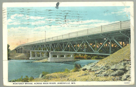 Postcard Montery Bridge Across Rock River Janesville WI