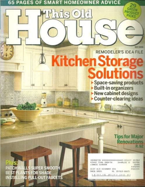 This Old House Magazine May 2006 Kitchen Storage
