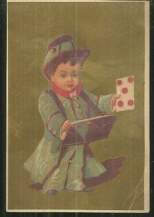 Victorian Card With Little Boy in Uniform with Gold