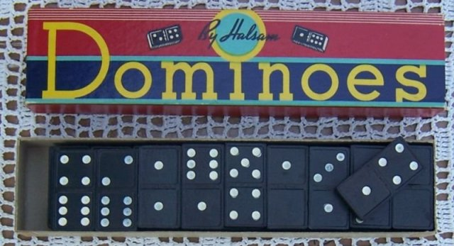 Vintage Set of Dominoes by Halsam in Box