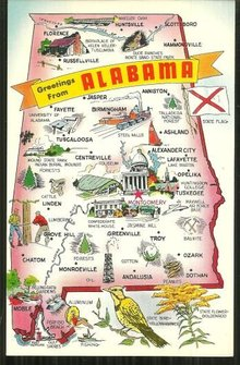 Greetings from Alabama Map Postcard Places of Interest
