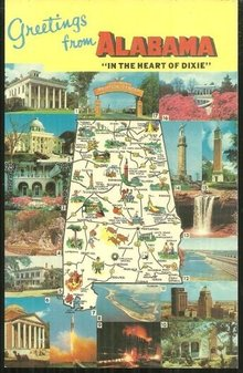Greetings from Alabama The Heart of Dixie Map Postcard