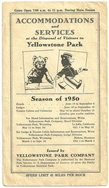 Accommodations and Services for Yellowstone Park 1950