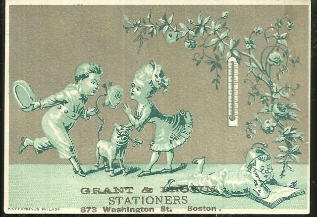Victorian Trade Card for Grant and Brown Stationers, Boston, Massachusetts