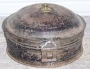 Vintage Metal Round Spice Tin with Handle