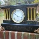 French Black Slate Mantle Clock, circa 1890